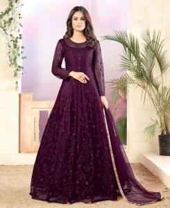 Thread Net Abaya Style Salwar in Purple