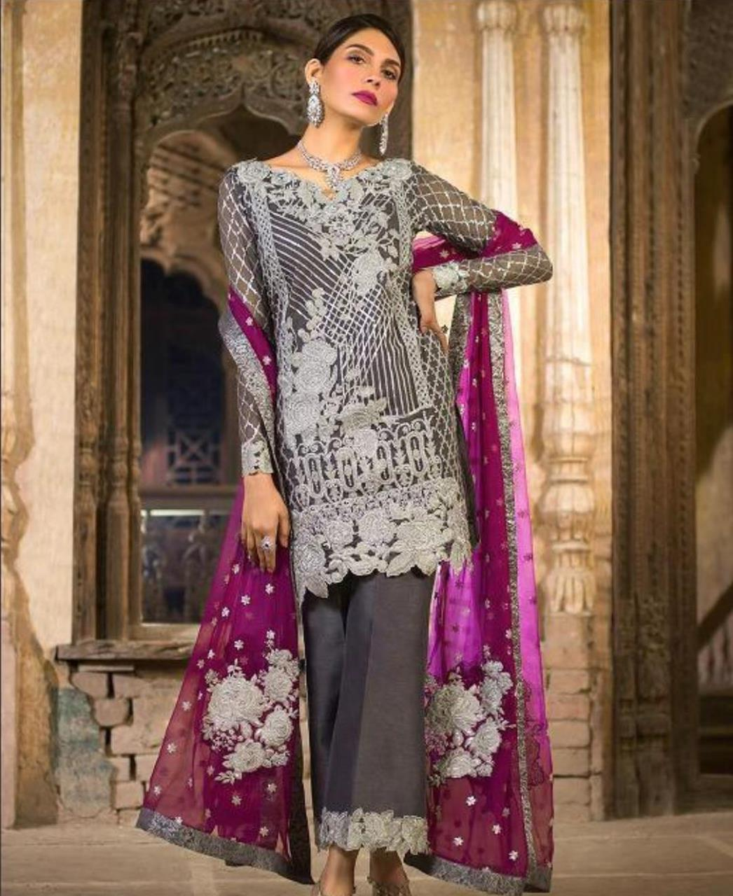 Zari Georgette Straight cut Salwar Kameez in Dark Grey