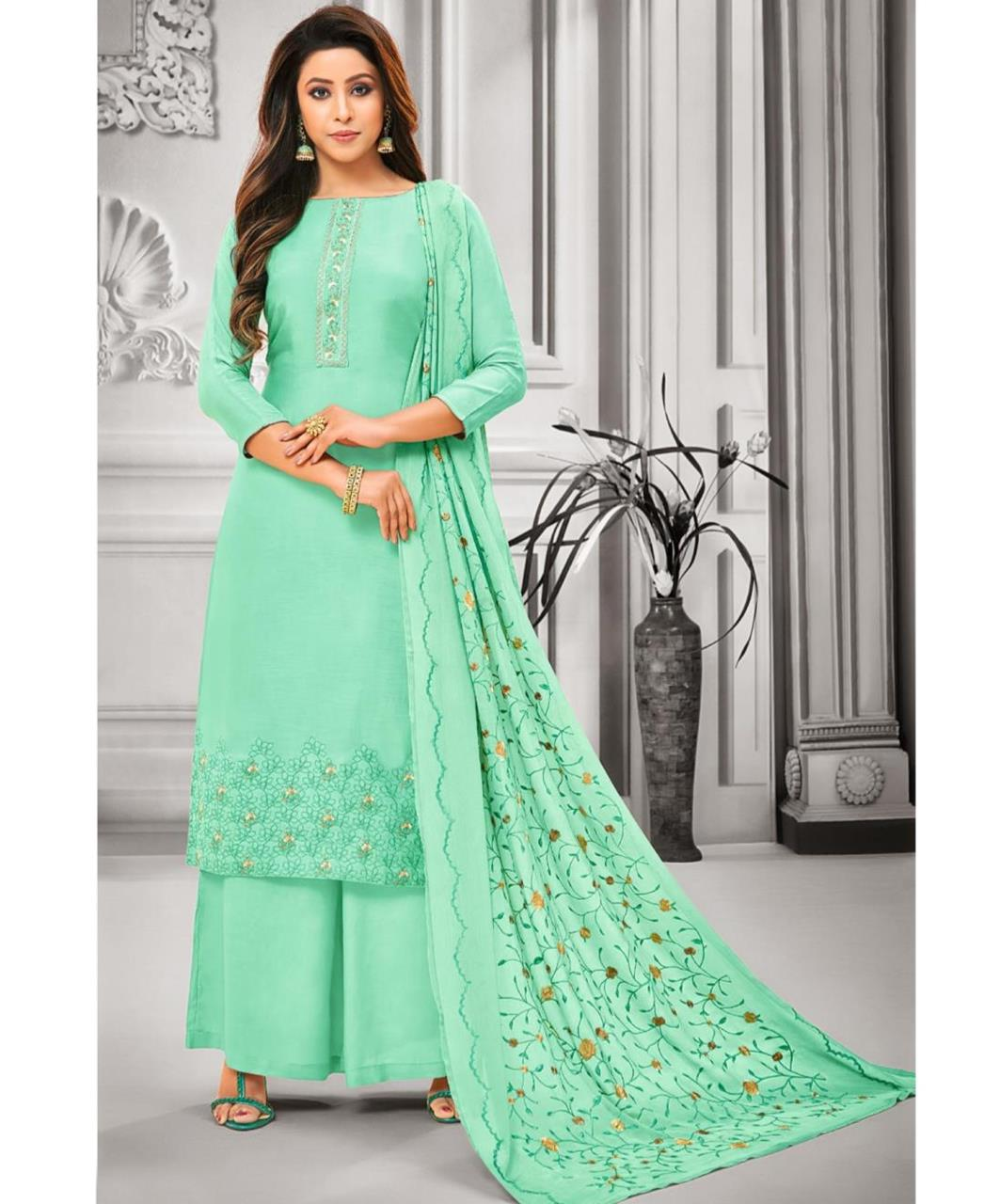 Embroidered Satin SEAGREEN Palazzo Suit Salwar