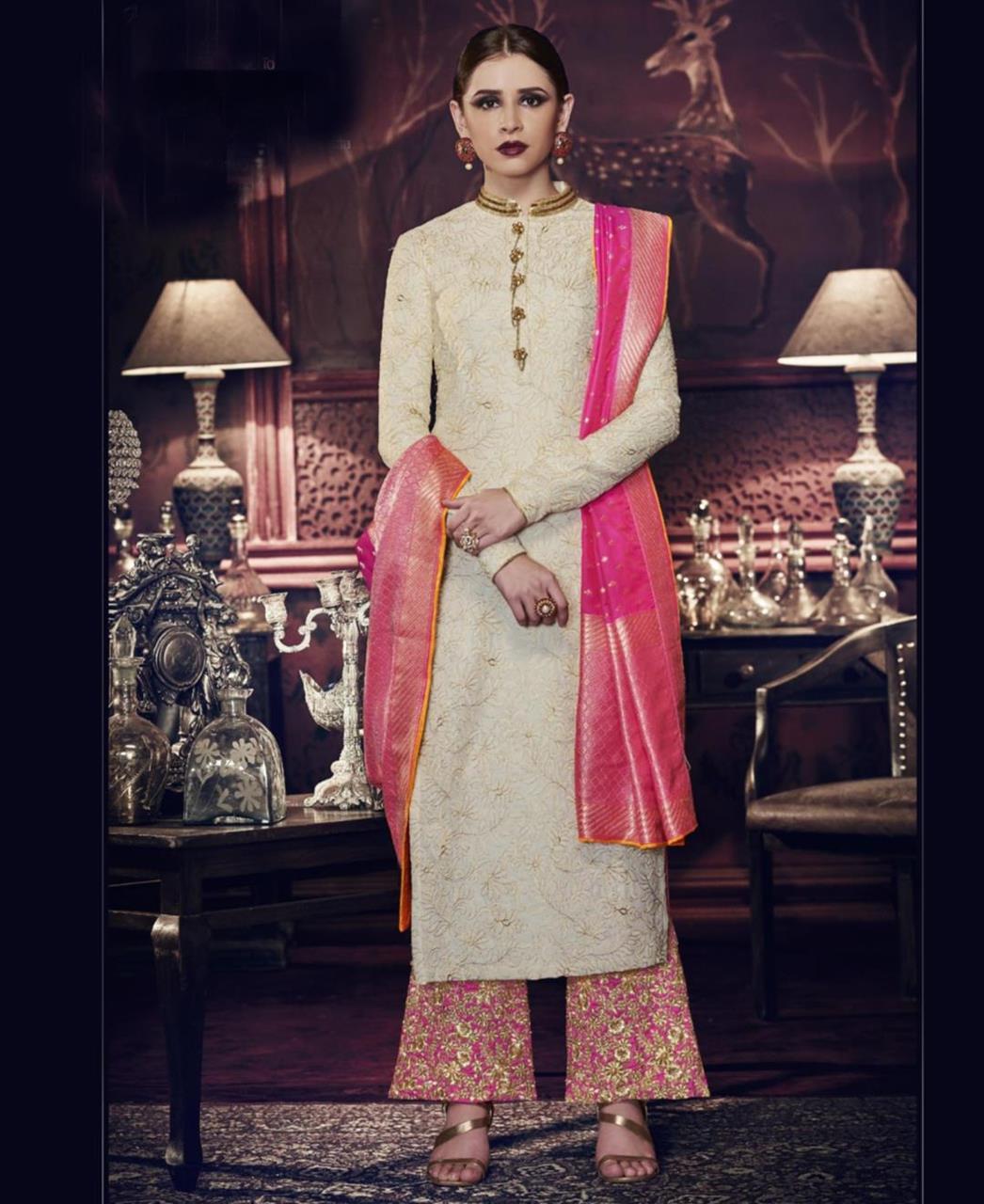 Stone Work Silk Abaya Style Salwar in Off White