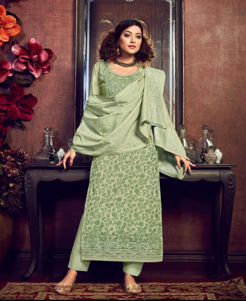 Cotton Straight cut Salwar Kameez in Pista Green
