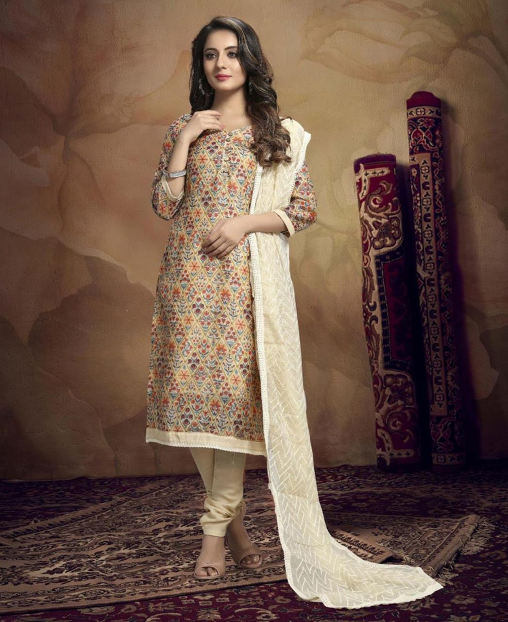 HandWorked Cotton Straight cut Salwar Kameez in Yellow