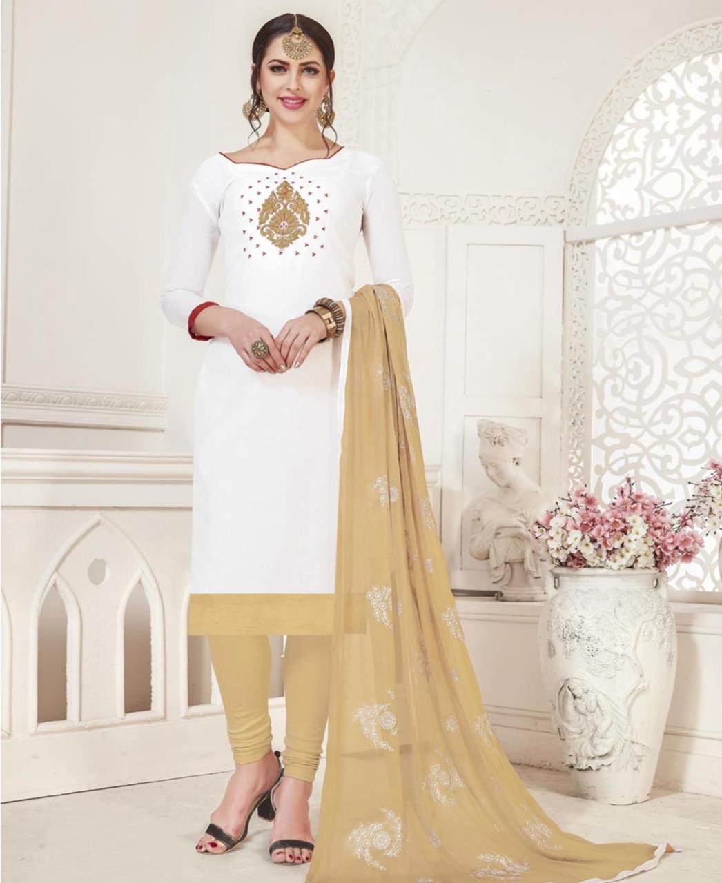 Embroidered Silk White Straight Cut Salwar