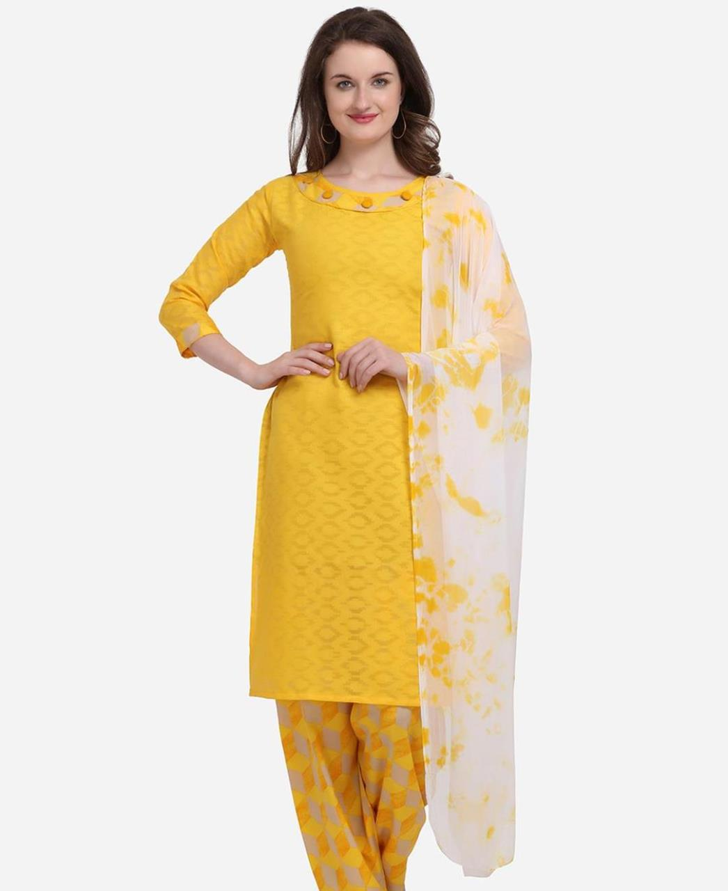 Embroidered Cotton Patiyala Suit Salwar in Yellow
