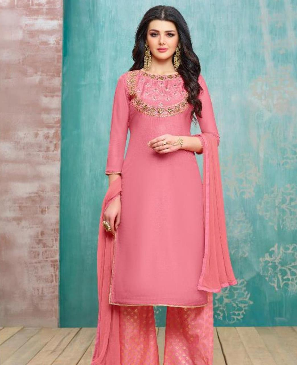 Embroidered Silk Pink Palazzo Suit Salwar