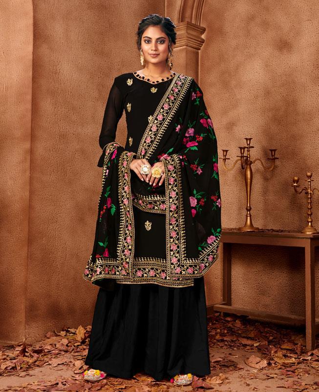 Resham Georgette Straight cut Salwar Kameez in Black