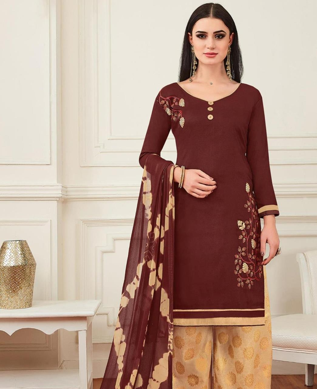 Embroidered Banarasi Silk Brown Palazzo Suit Salwar
