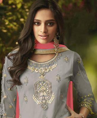 Embroidered Net Gray Palazzo Suit Salwar