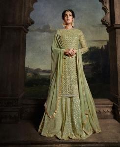 Net Abaya Style Salwar in Green