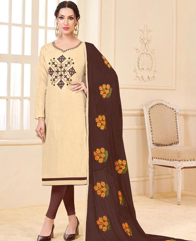 Embroidered Bangalore Silk Beige Straight cut Salwar