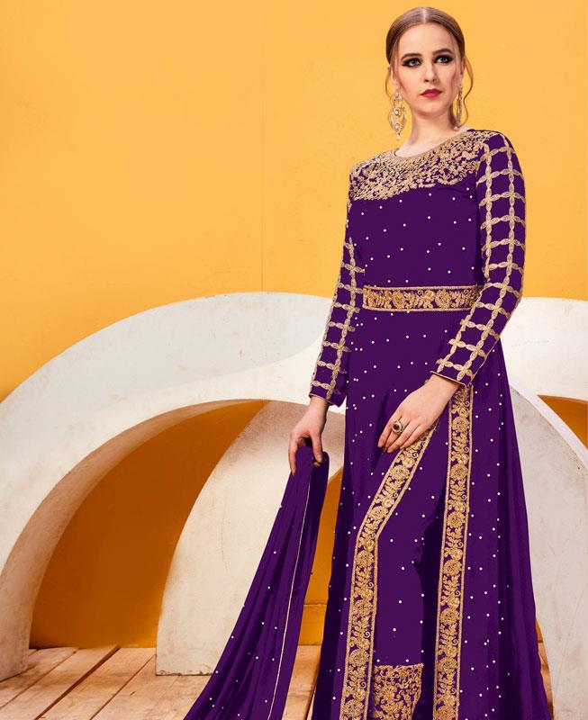 Embroidered Faux Georgette Purple Abaya Style Salwar Kameez