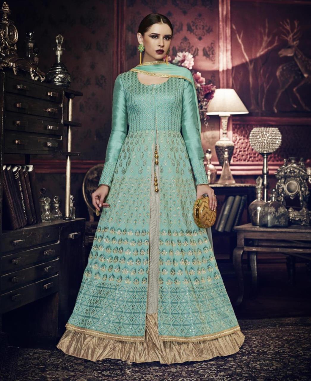 HandWorked Silk Abaya Style Salwar in Rama Green