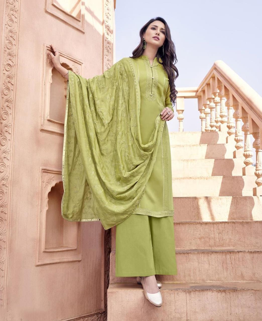 Zari Cotton Straight cut Salwar Kameez in Pista Green