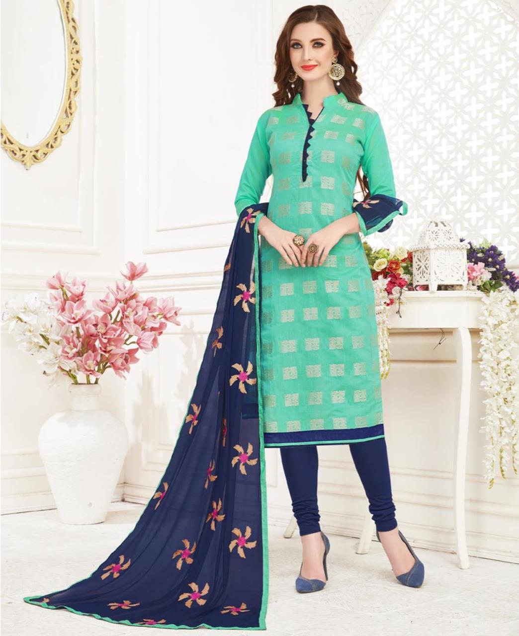 Embroidered Banarasi Silk Aqua Straight Cut Salwar