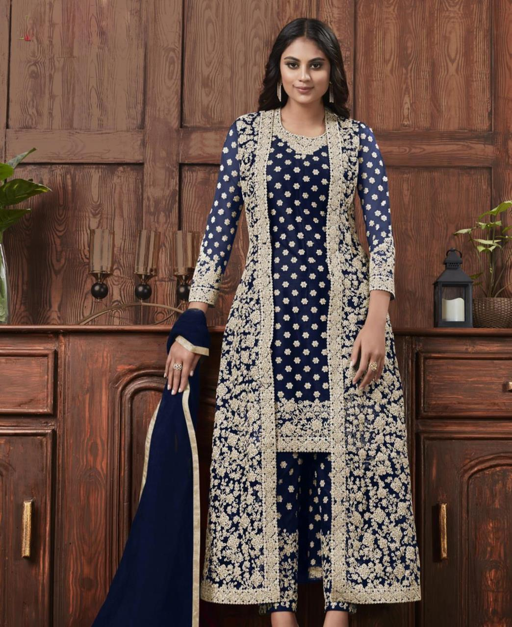 Satin Straight cut Salwar Kameez in Blue