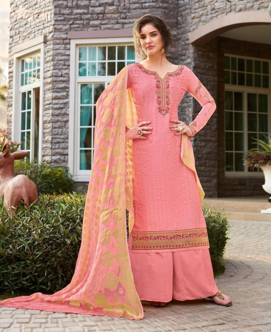 Resham Silk Straight cut Salwar Kameez in Pink