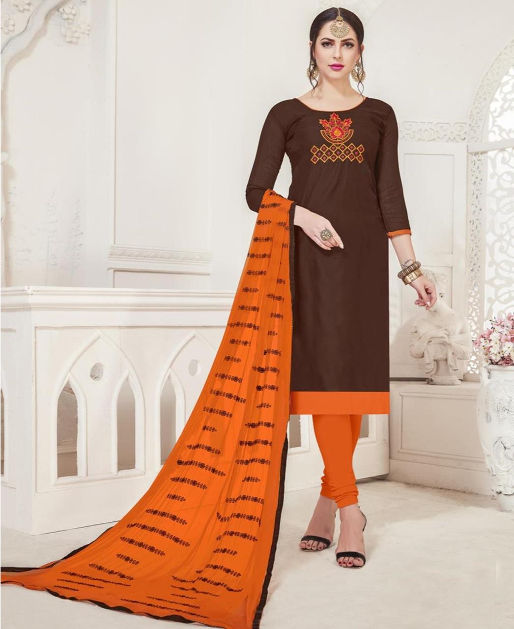 Embroidered Silk Brown Straight Cut Salwar