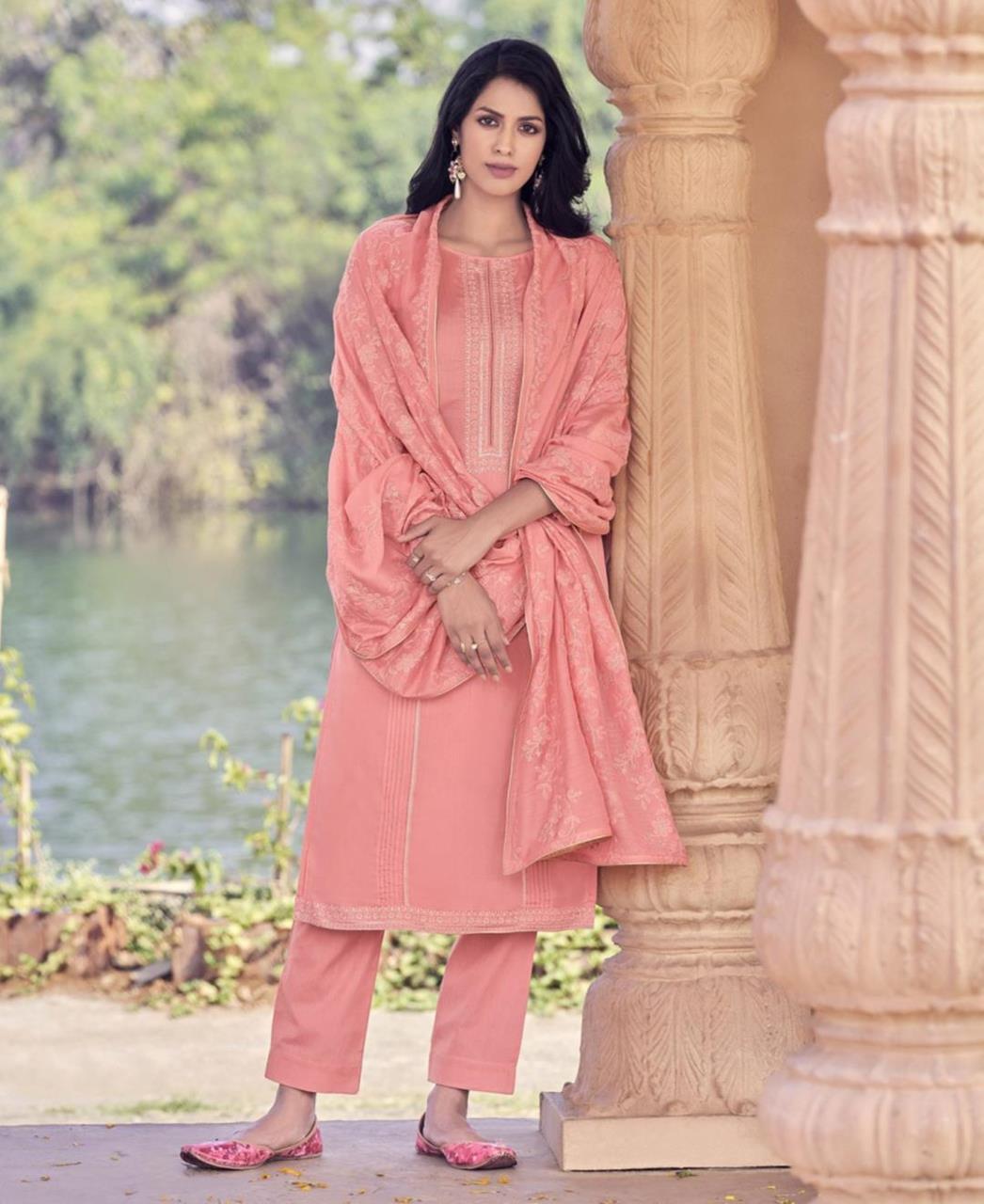 Zari Cotton Straight cut Salwar Kameez in Peach