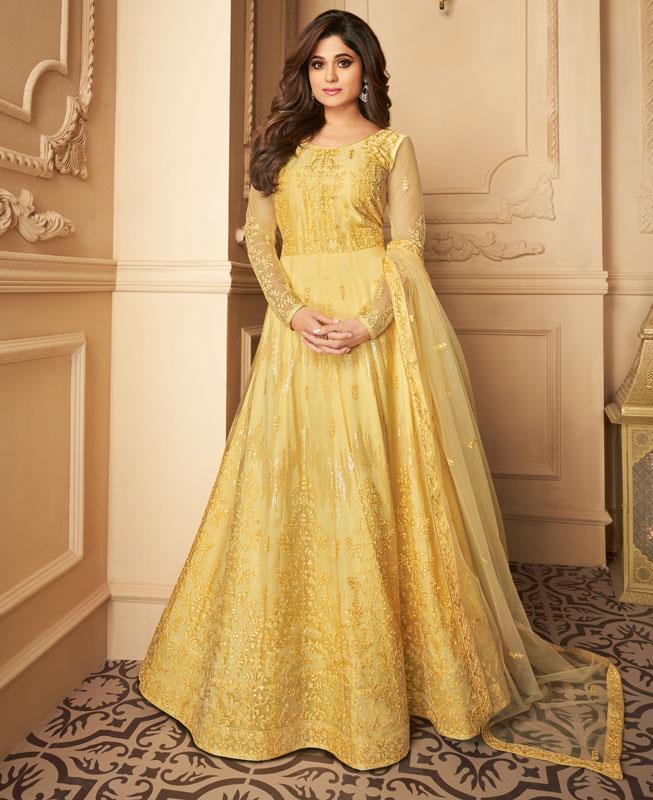 Embroidered Satin Abaya Style Salwar in Yellow