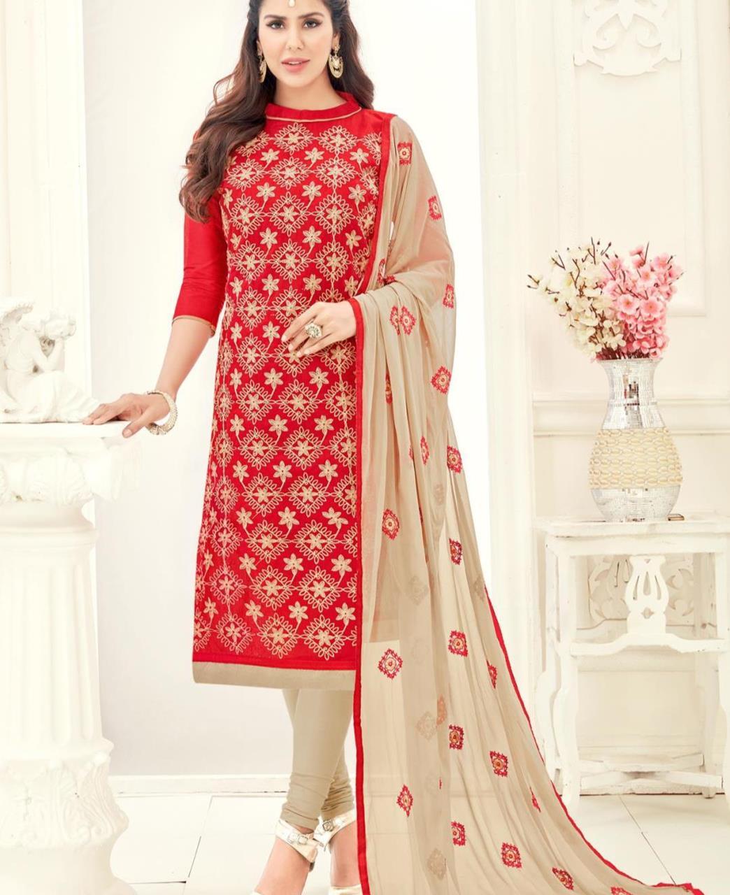 Embroidered Chanderi Red Straight Cut Salwar Kameez