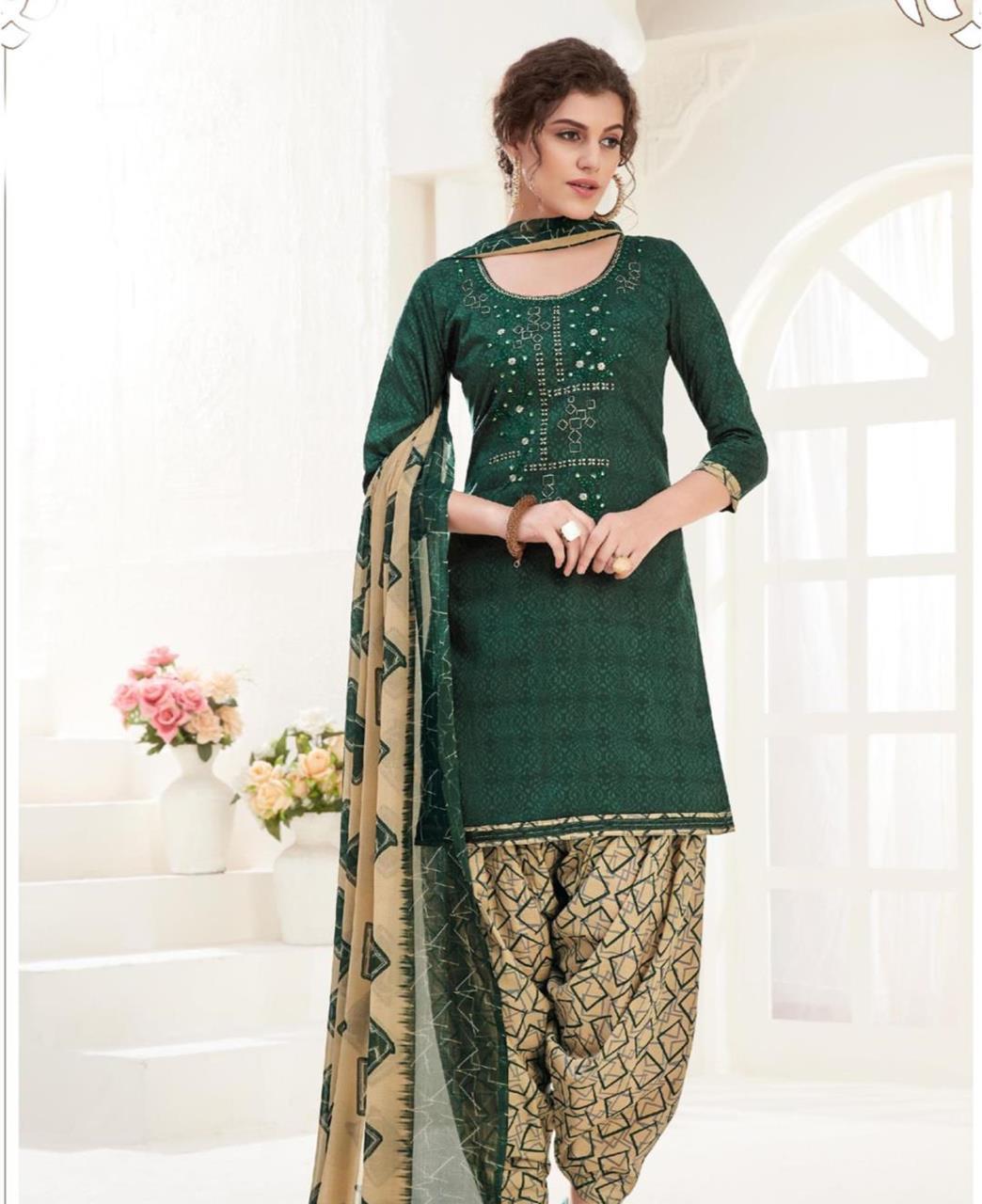 Thread Cotton Patiyala Suit Salwar in Green