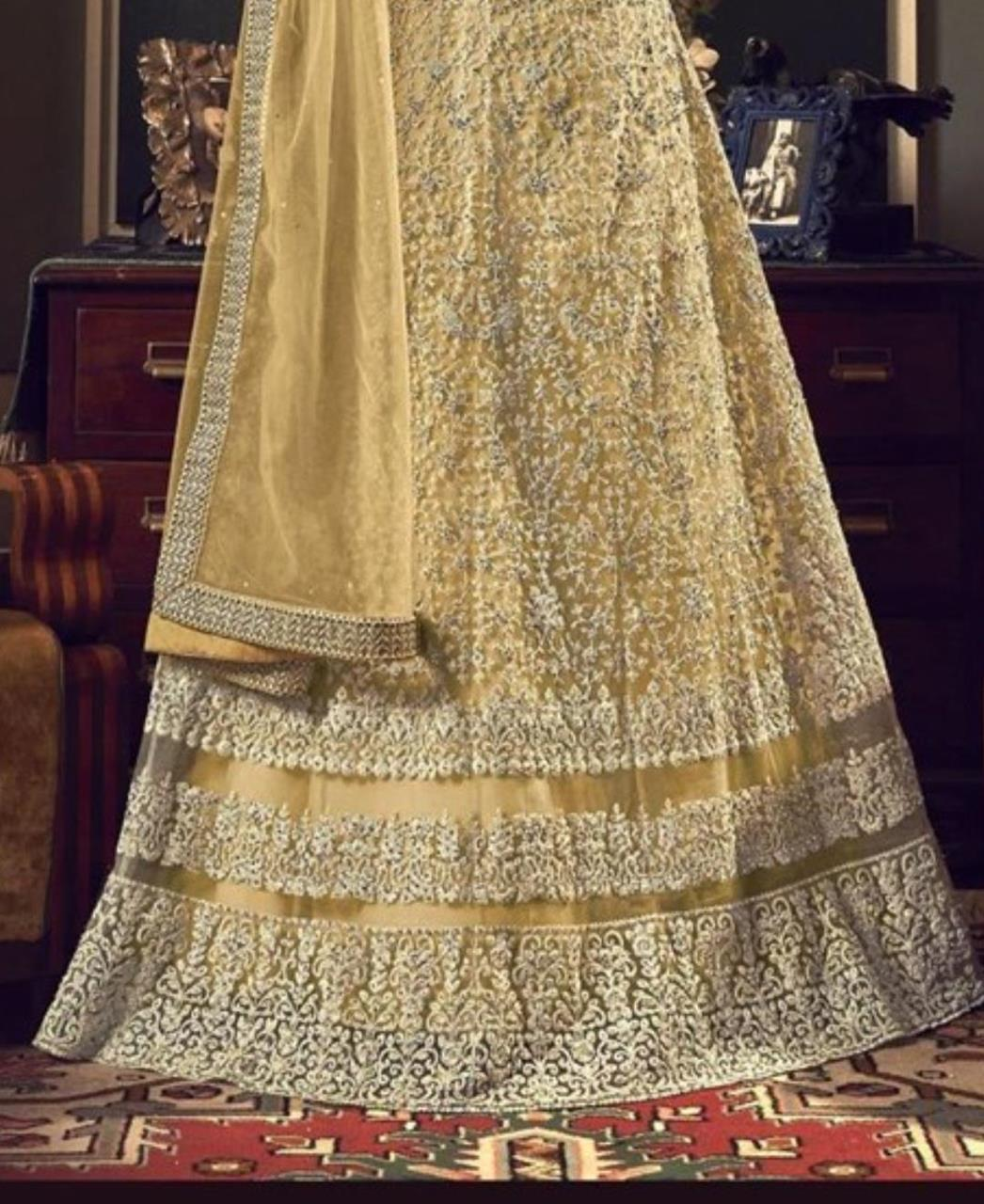 Stone Work Silk Abaya Style Salwar in Light Yellow