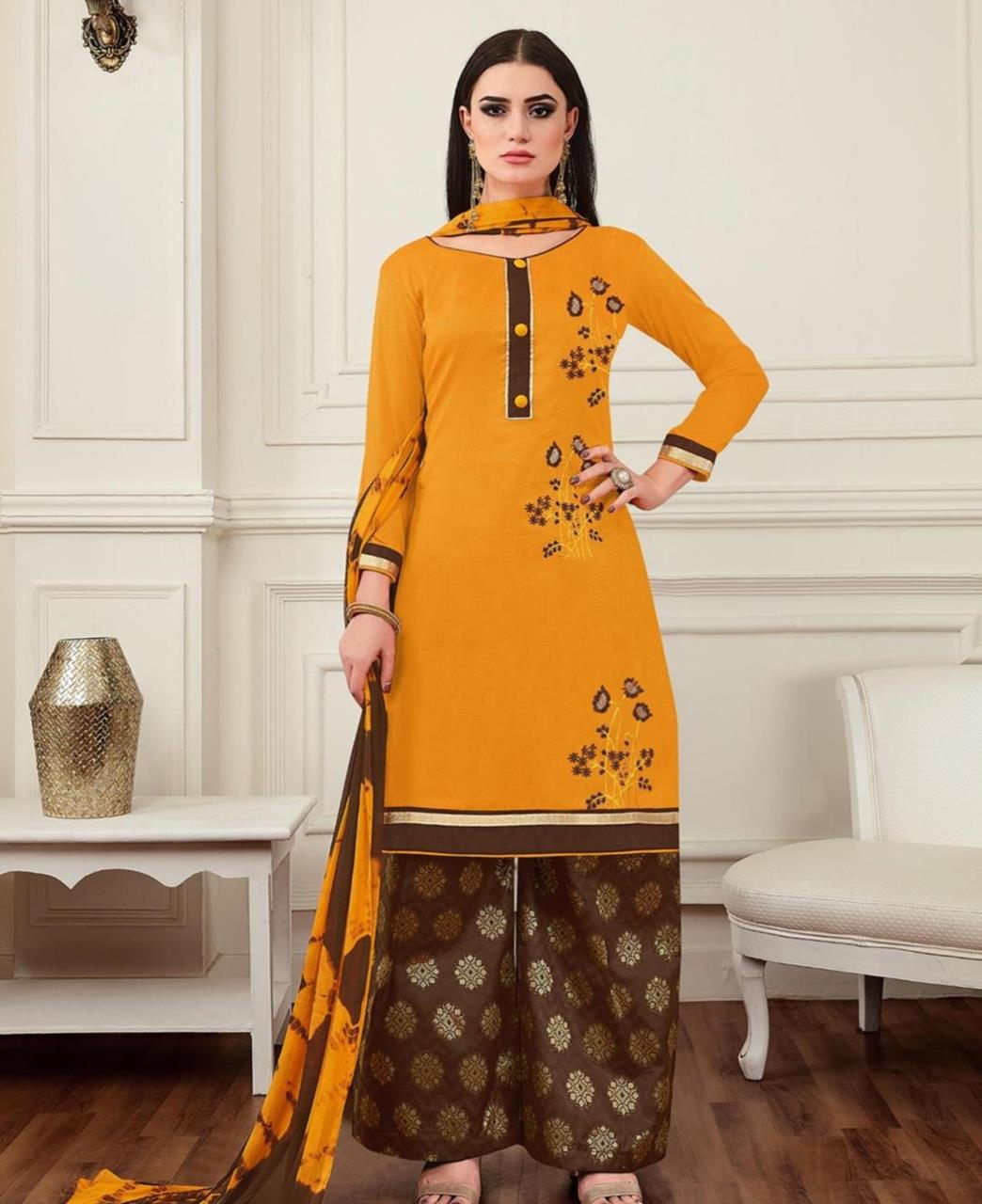 Embroidered Banarasi Silk Yellow Palazzo Suit Salwar