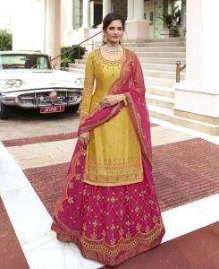 Thread Georgette Abaya Style Salwar in Yellow