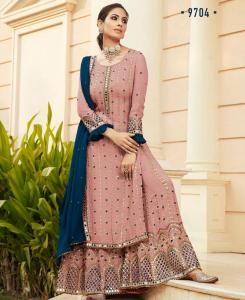 Embroidered Georgette Straight cut Salwar Kameez in Pink