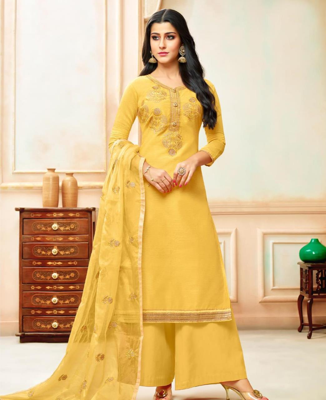 Embroidered Silk Yellow Palazzo Suit Salwar Kameez