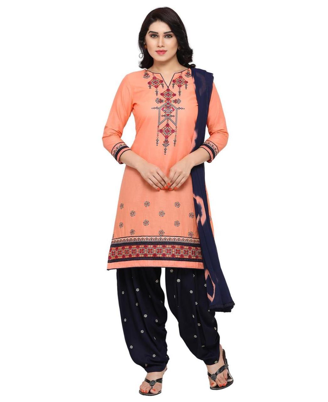 Printed Cotton PeachPuff Patiyala Suit Salwar