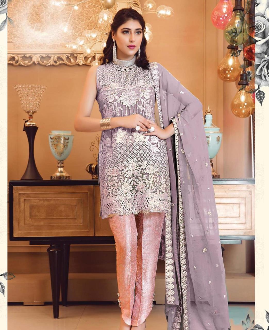 Zari Georgette Straight cut Salwar Kameez in Purple