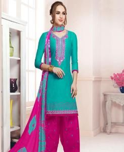 Embroidered Cotton Green Patiyala Salwar