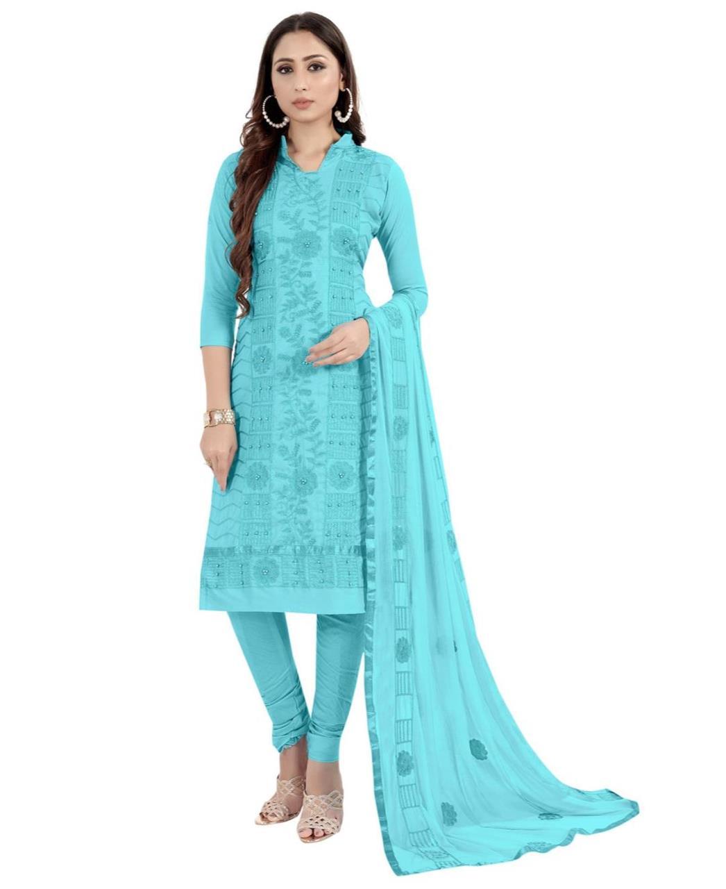 HandWorked Cotton Patiyala Suit Salwar in Sky Blue