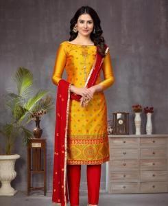 Jacquard Straight cut Salwar Kameez in Yellow