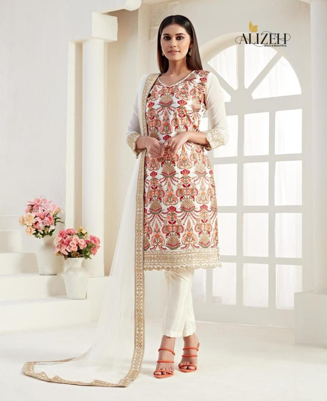 Thread Georgette Straight cut Salwar Kameez in Cream