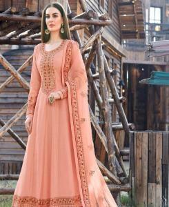 Stone Work Silk Abaya Style Salwar in Peach