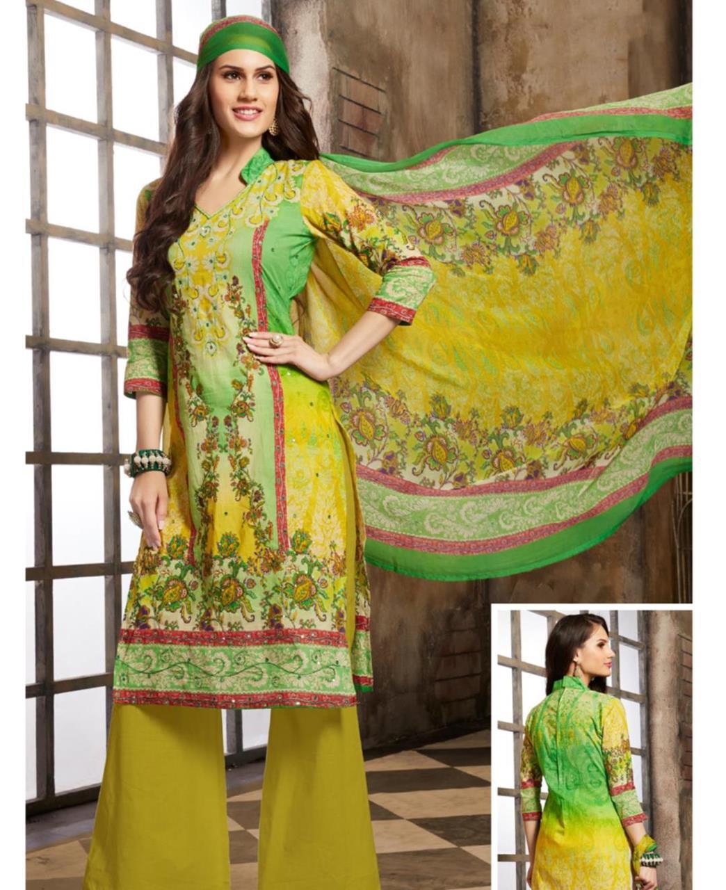 Printed Cotton Green Palazzo Suit Salwar