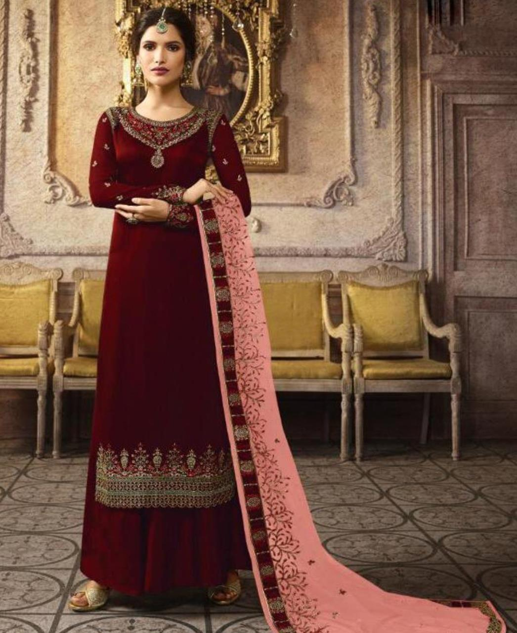 Embroidered Silk Straight cut Salwar Kameez in Maroon