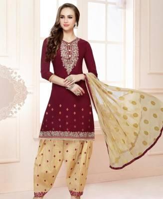 Printed Cotton Maroon Patiyala Salwar Kameez