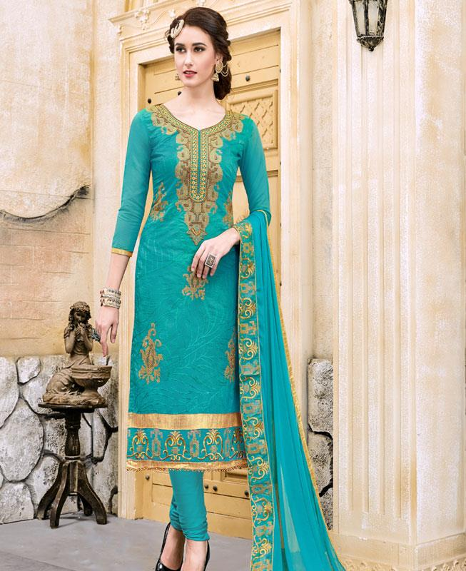 Border Work Chanderi Cotton Aqua Straight Cut Salwar Kameez
