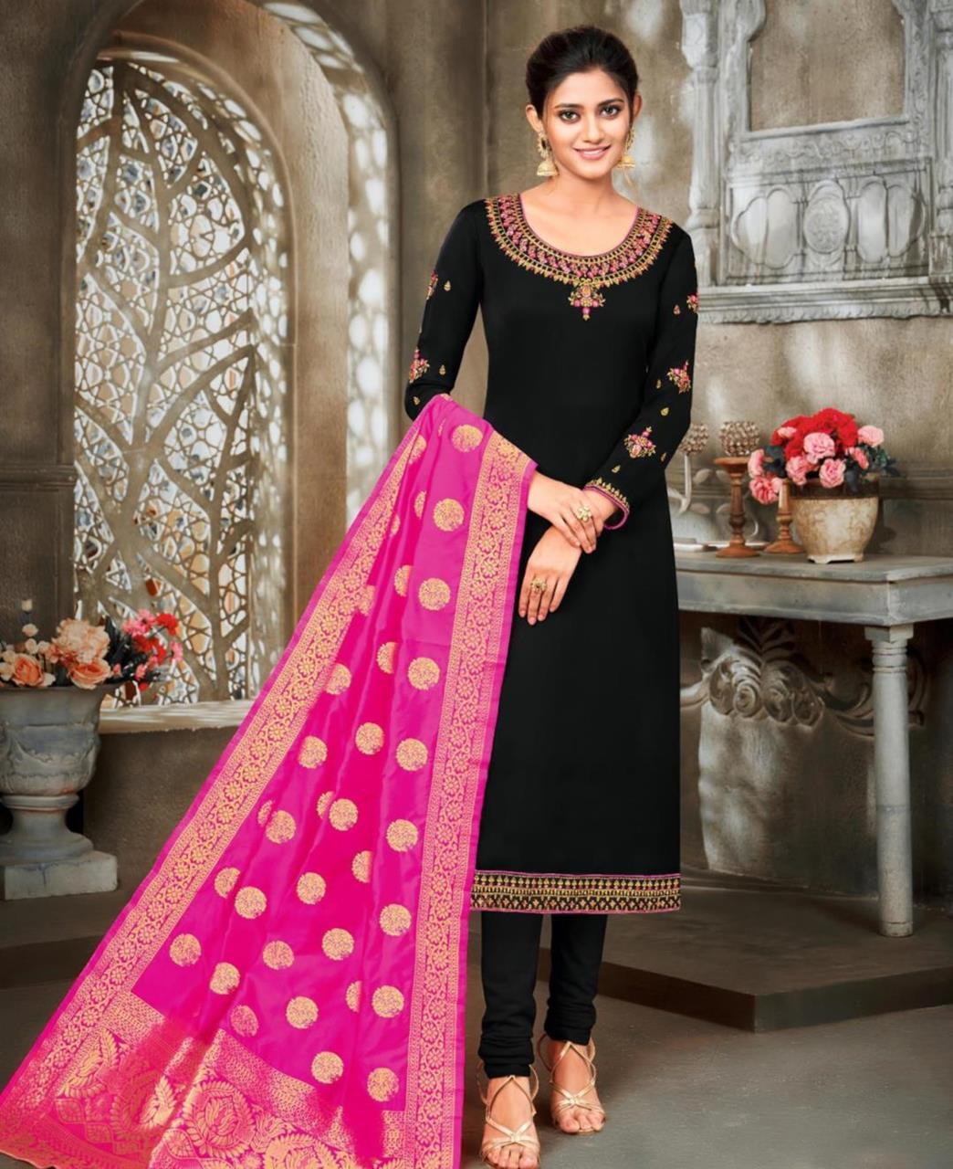 Stone Work Georgette Straight cut Salwar Kameez in Black