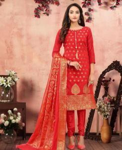 Jacquard Straight cut Salwar Kameez in Red