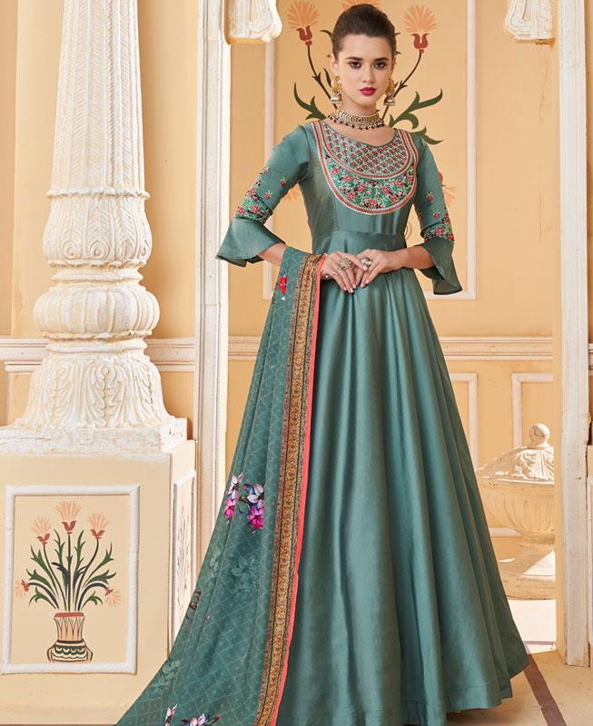 Thread Work Silk DARKCYAN Anarkali Salwar