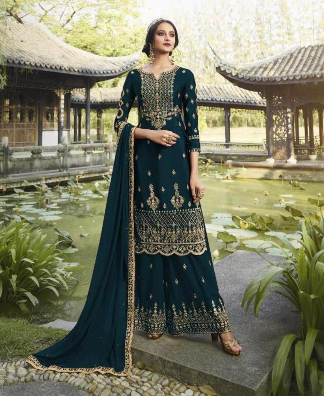 HandWorked Georgette Straight cut Salwar Kameez in Bottel Green