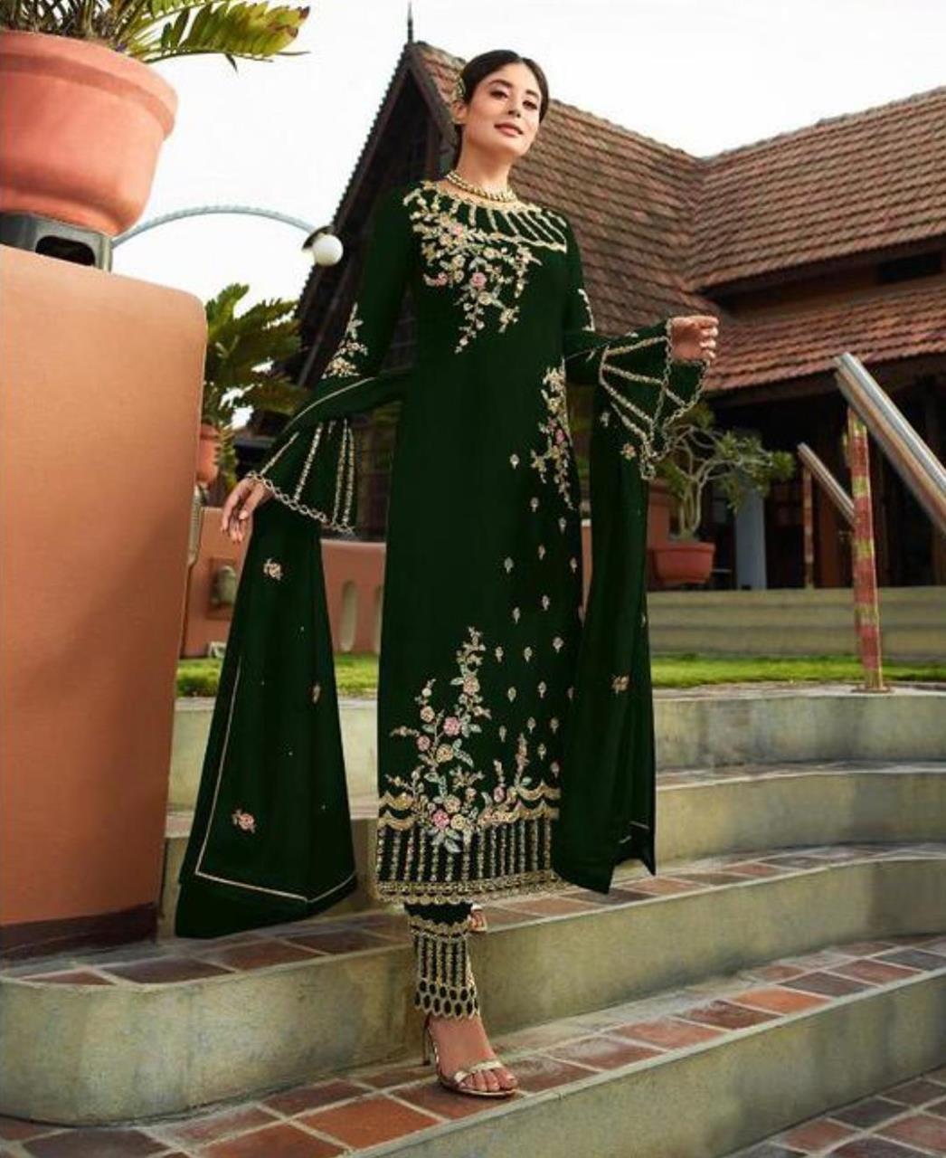Georgette Straight cut Salwar Kameez in Dark Green