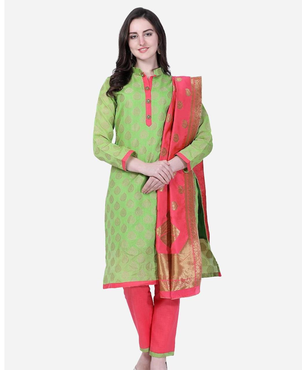 HandWorked Cotton Straight cut Salwar Kameez in Parrot Green