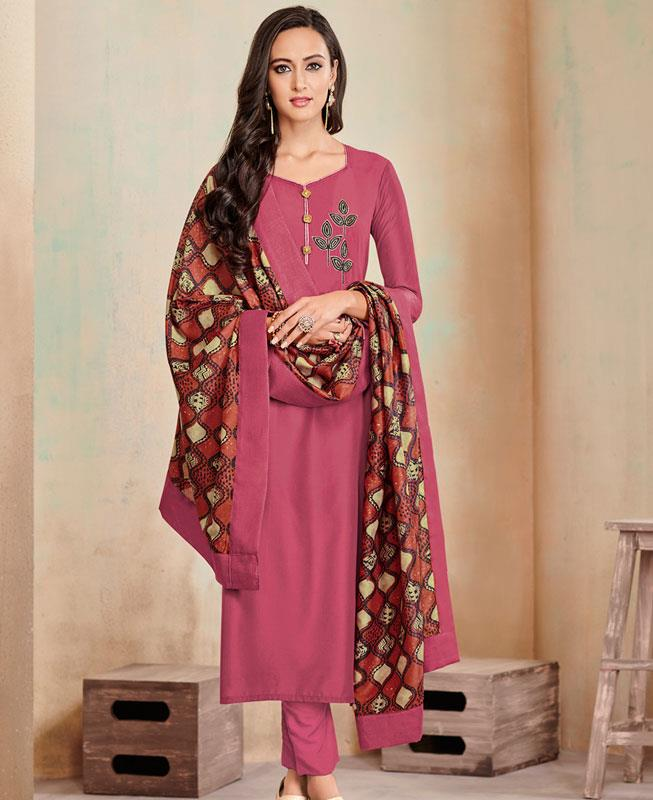 Butta Work Cotton Pink Straight Cut Salwar