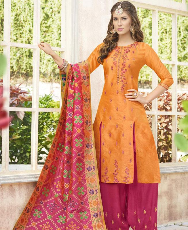 Embroidered Cotton Orange Palazzo Suit Salwar