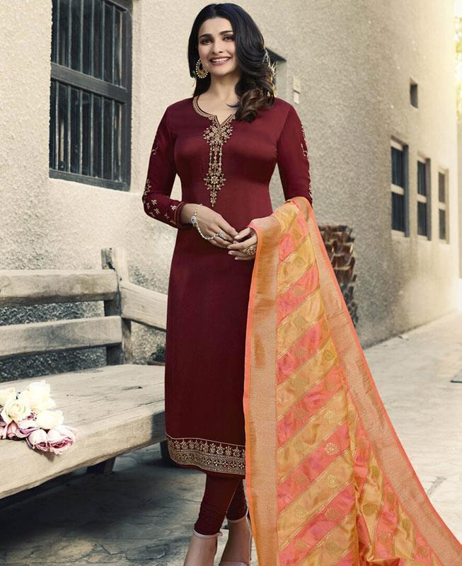 Embroidered Georgette Maroon Straight cut Salwar